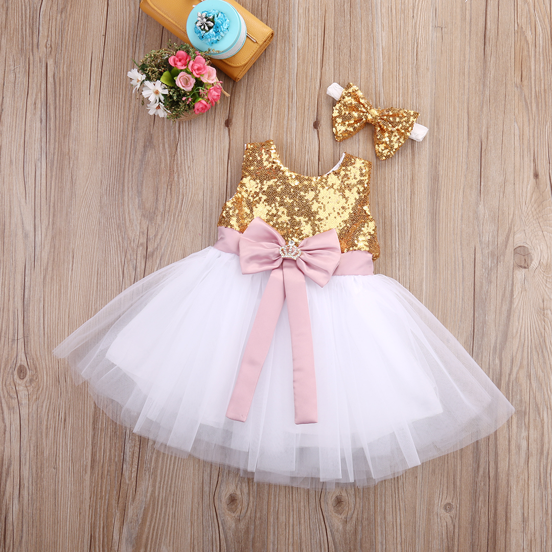 Girls Sequined Bowknot Formal <font><b>Dress</b></font> Princess Kid <font><b>Baby</b></font> Pageant Party Wedding <font><b>Fancy</b></font> <font><b>Dresses</b></font> Ball Gown Tutu Sundress Headband 0-10Y image