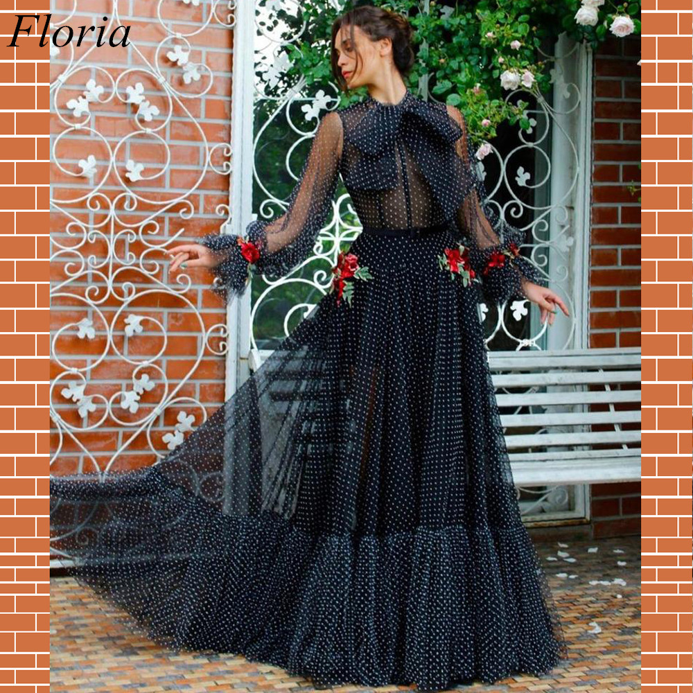 Long Summer Beach   Prom     Dresses   2019 A-Line Formal Long Sleeves Illusion Tulle Evening   Prom   Party Gowns With Appliques Custom