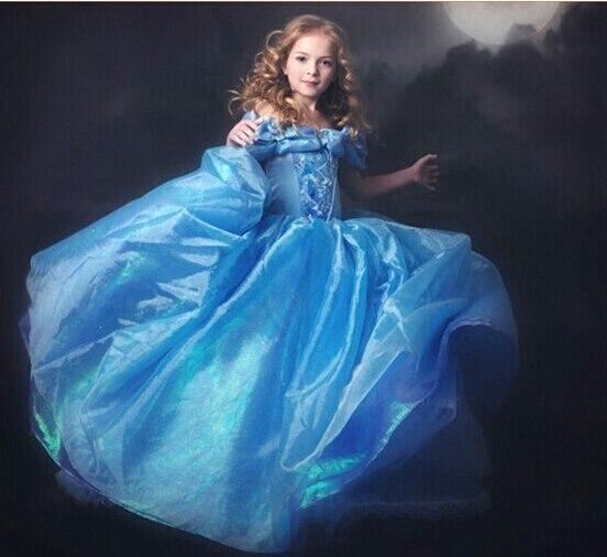 Child's Fair Tale Girls Cosplay Costume Cinderella Princess Party Performances Dress Girls Christmas Cinderella Costumes dress