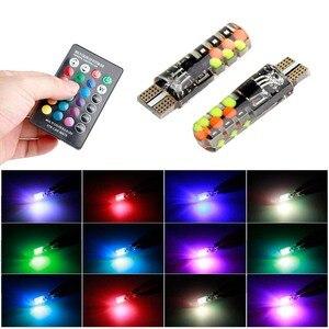 Image 1 - Universal T10 Led RGB W5W 194 lámpara de liquidación para coche RGB COB colorido Multi Mode Auto bombilla de luz de costado con control remoto