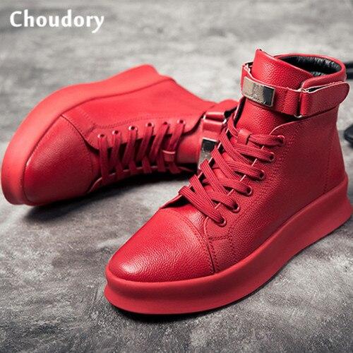 En Cuir Homme White Baskets Chaussure Mâle Bottes Blanc Black Rouge dCoxrBe