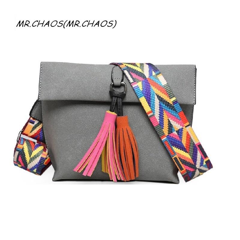 Bolsa feminina Women Scrub Leather Design Crossbody Bag Girls With Tassel Colorful Strap Shoulder Bag Female Small Flap Handbag