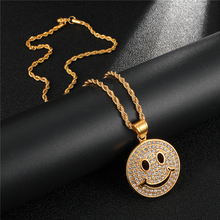 HIP Hop 316L Stainless Steel Micro Pave Rhinestone Iced Out Smiling Face Pendants & Necklaces for Women Men Jewelry Wholesale