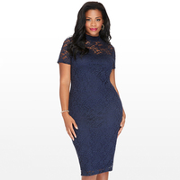 New Elegant Large Size Lace Dresses Navy Blue Floral Lace Sleeved Fit And Flare Curvy Dress
