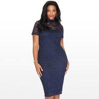Nuovo Elegante Large Size Abiti di Pizzo Blu Navy Pizzo Floreale Maniche Lunghe Fit e Flare Curvy Dress Abiti Mujer Plus size 4XL 5XL 6XL