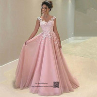 Vestidos de Baile Formatura 8th Grade Pink Prom Dresses 2017 Lace Princess Long Party Dress for Graduation Formal Evening Gowns