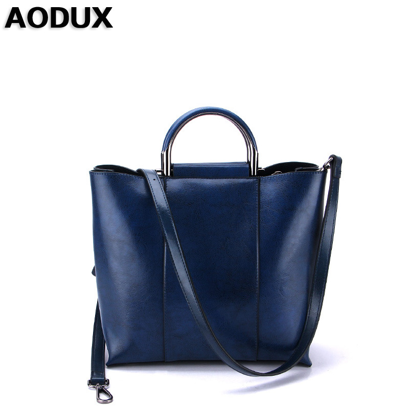 AODUX New Fashion Second Layer Oil Wax Cow Leather Women Tote Bags Woman Handbags Genuine Leather Female Bags Girls aodux 2018 new famous brand women tote shopping bags female genuine leather woman second layer cow leather shoulder shopping bag