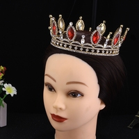 Headdress Prom Bridal Wedding Tiaras TS001 Crowns Hair Jewelry Accessories gold plated red rhinestones woman's party crown