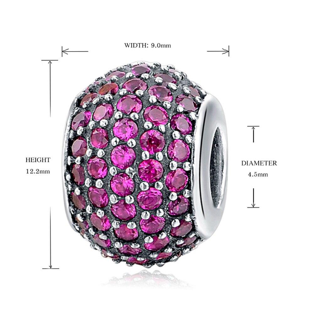 Silver Galaxy Purple Cubic zirconia Round Beads For Women Fit Pandora Bracelet Charms Silver 925 Original Fashion DIY Jewelry