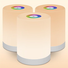 Bole colorful night light bluetooth speaker portable wireless bluetooth speaker touch control bedside table lamp support AUX, TF