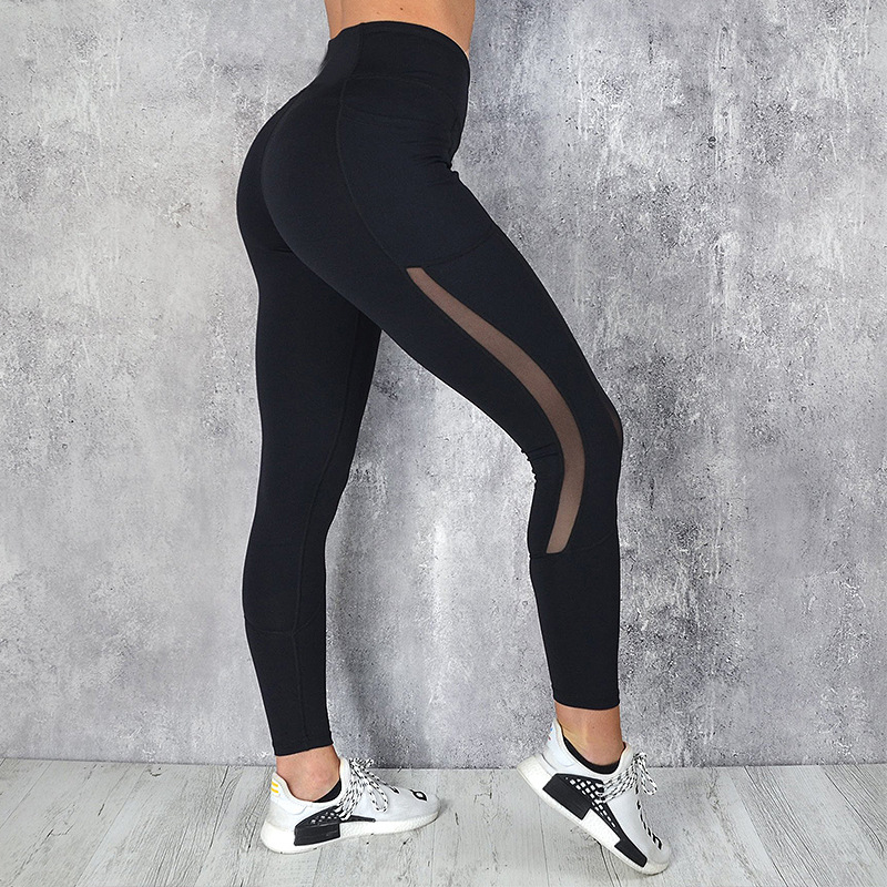 Women Mesh Pocket Fitness Leggings High Waist Legging Femme Mesh Patchwork Workout Leggings Feminina Jeggings 4
