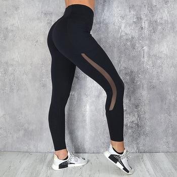 Women Mesh Pocket Fitness Leggings High Waist Legging Femme Mesh Patchwork Workout Leggings Feminina Jeggings 3