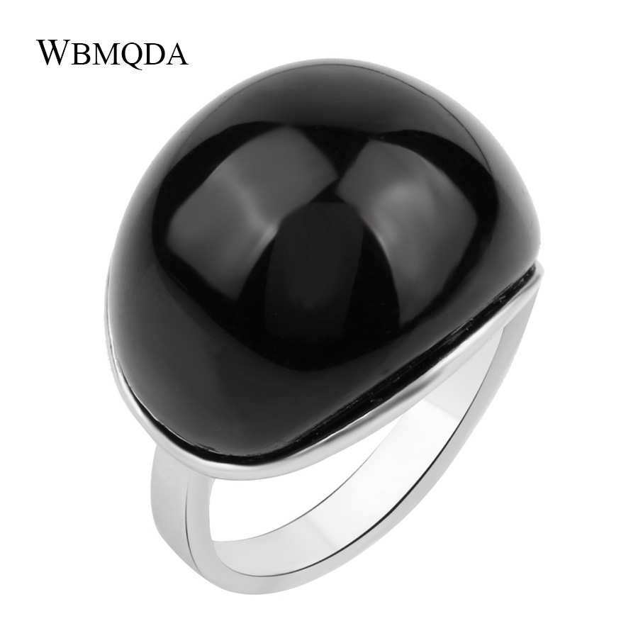 Unique Vintage Goth Big Black Stone Rings For Women Punk Rock Silver Color Biker Ring Me ...