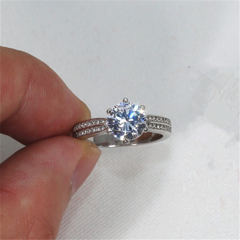 1.0/2.0 Ct Fire Synthetic SONA Stone Ring Women Pure Real 925 Sterling Silver Band Wedding Engagement Ring Female Classic Design