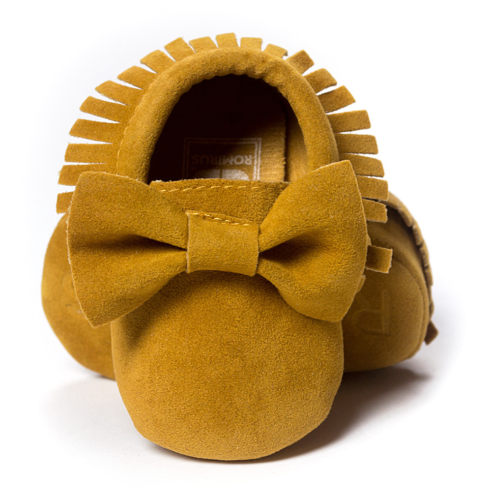 ROMIRUS Baby Soft Tassel Girls Bow Moccs Soft sole Infants Girl shoes Tassel Shoes Yellow 12cm