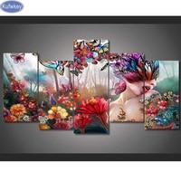 5pcs 5D Diy Diamond Painting Beauty Flower Full Diamond Embroidery 3d Picture Cross Stitch Diamond Mosaic