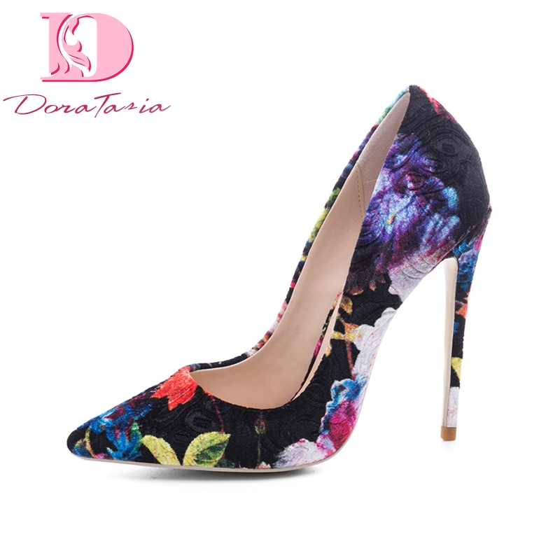 DoraTasia women's Flock Thin High Heels Print Pointed Toe Mixed Colors Shoes Woman Casual Party Pumps Plus Size 33-45 doratasia embroidery big size 33 43 pointed toe women shoes woman sexy thin high heels brand pumps party nightclub