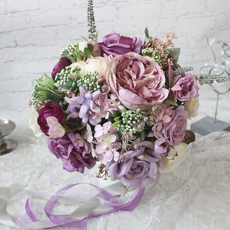 1pc Purple Bridal Bouquet Artificial Wedding Flowers Bouquet Holder ...