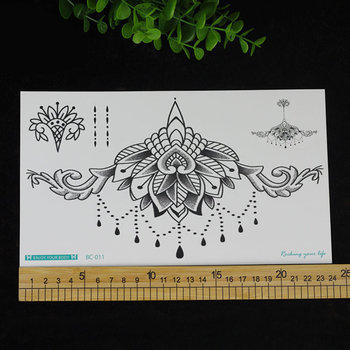 1pc Chest Flash Tattoo 23models large black magical flower Sternum tattoos body paint necklace Under breast 24*13.8cm cool girls 3