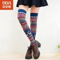 2015 Kneepad Winter Sweet Knee Socks High Stocking Women Rabbit Hair Leg Sets Standard Warm Boots