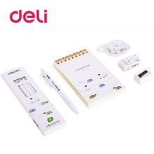 Deli stationery writing set quality cute school kid  A6 spiral notebook gel pen pencil correction tape eraser mini sharpener mini eraser pencil for pencil professional drawing eraser pen accurate correction material escolar 1pcs j22 dropshipping