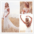 2016 Elegant Cheap Chiffon and Lace Wedding Dress Sexy Open Back Short Sleeve Floor-length Bride Gowns vestido de noiva