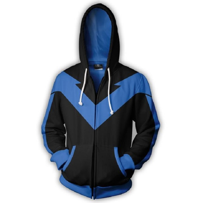BIANYILONG 2018 new women's men hooded blue Hokage 3D printed hoodies tracksuit zipper hoodie hip hop tops Zip Hooded Sweatshirt