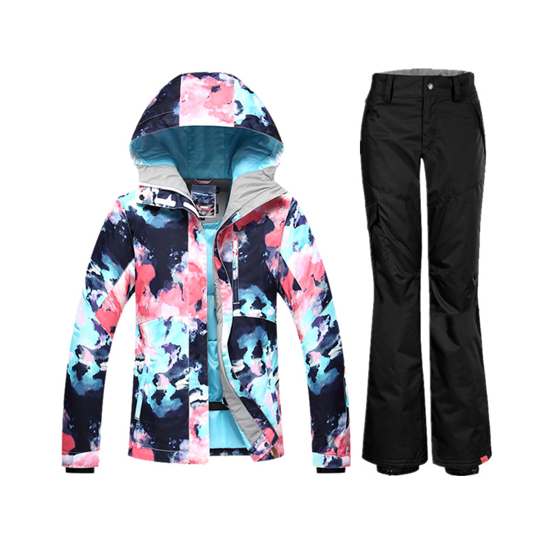 GSOU snowboard costume femme hiver ski costume femme veste pantalon ski de montagne vêtements ski vestes costume femmes snowsuit
