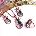 Fine Turkish Jewelry Vintage Necklace Earrings Ring Sets Gold Green Lily Flower Pendant Princess Hooks Brincos Big Size Ring 10