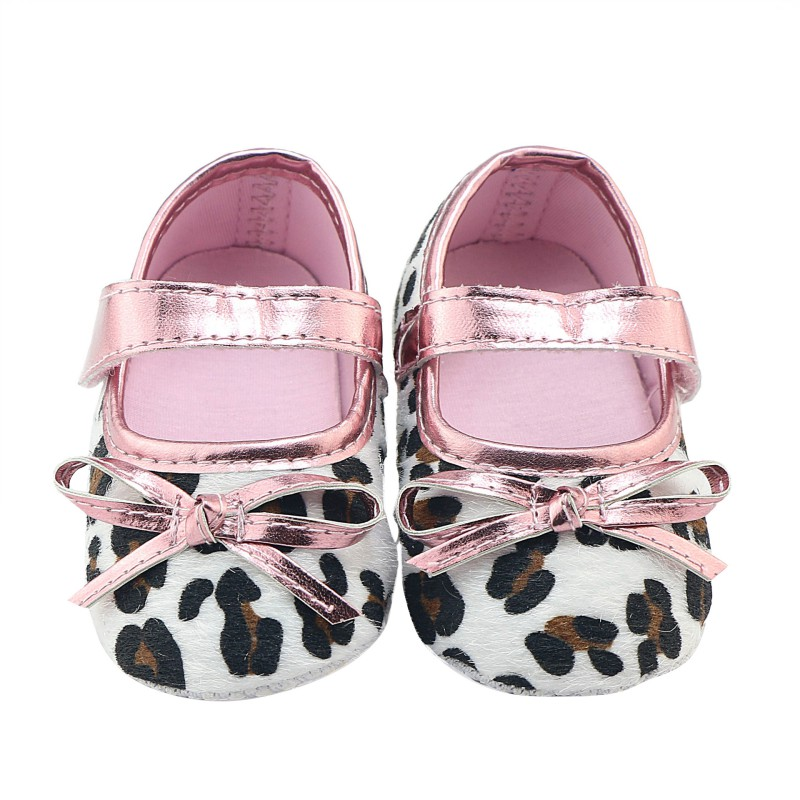 Newborn Lovely Baby Girls Autumn Lovely Pink Leopard First Walkers Soft Bottom Infant Comfortable Cack Shoes 0-12M