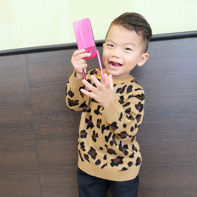 Fashion Korean New Autumn Winter Baby Girls And Boys Fashion Leopard Sweaters Children Amd Mother Soft Popular Sweaters Outwear children autumn and winter warm clothes boys and girls thick cashmere sweaters