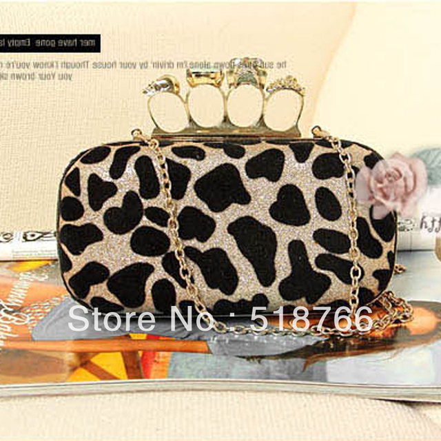 2013 Skull Ring Leopard Day-clutch New Designer Women Vintage Evening Party Handbag Shoulder Bag Free Shipping Wholesale/Retail