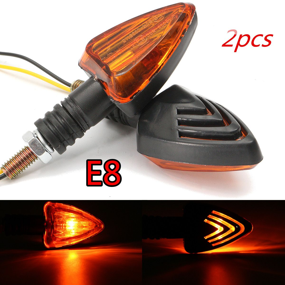 Pair Universal Motorcycle Turn Signal Light E8 Approved Indicator Lamps Amber For Honda/Yamaha/Suzuki