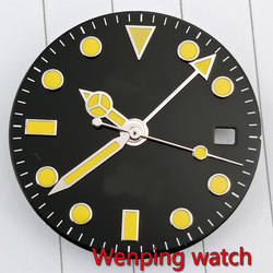 28.5mm sterial dial yellow marks Watch Dial gmt watch hand  for MIYOTA 8215 821A Mingzhu 2813 3804 Movement