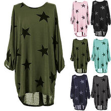Women Stars Print Loose Blouse Ladies Summer Long Sleeve Pink Black Gray Tops Clothes