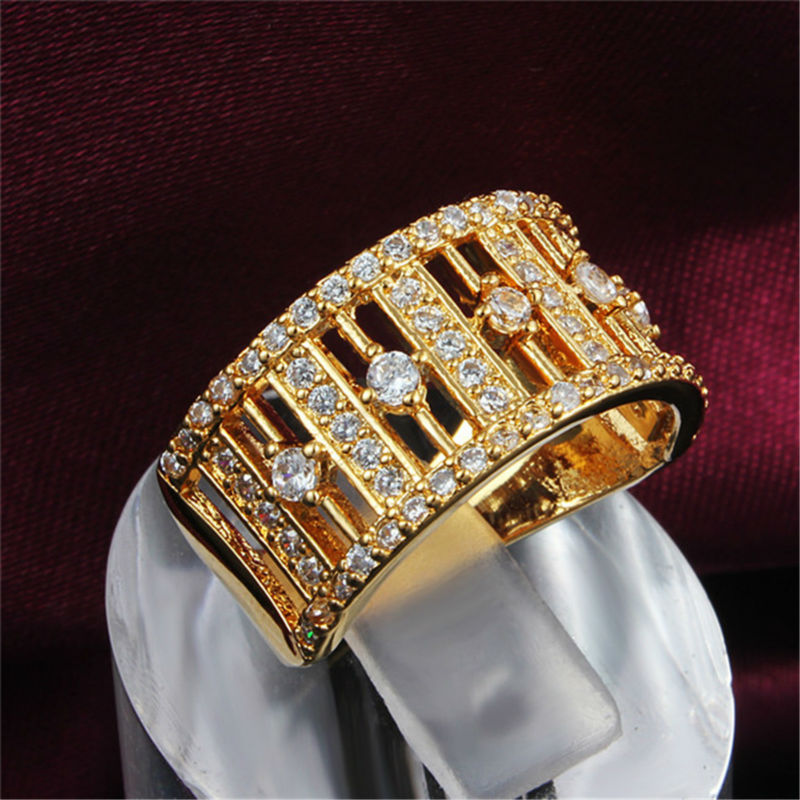 New Wide Gold White Ring Zircon Crystal Rhinestone Finger Wedding Jewelry Women Charm Ring Plate Christmas Lady Lover Gift