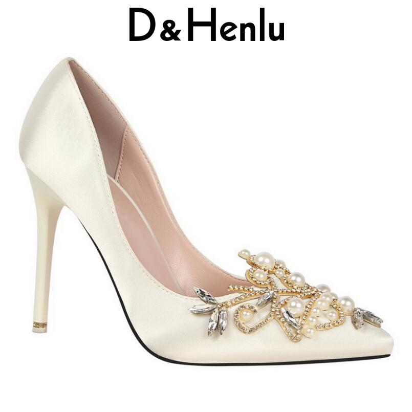 D&Henlu Women Shoes High Heel Sexy Party Shoes Heels Women Crystal Pumps Pearl Pointed Toe High Heels Wedding Shoe Woman Heels newest flock blade heels shoes 2018 pointed toe slip on women platform pumps sexy metal heels wedding party dress shoes