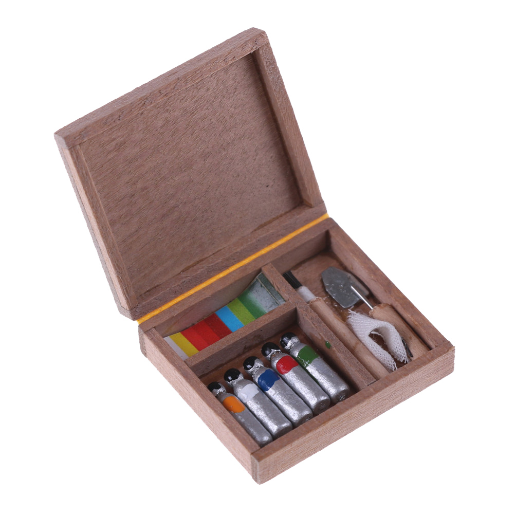Dollhouse Miniature Artist Wood Paint Tool Box Pigment Home Decor Accessory 1:12