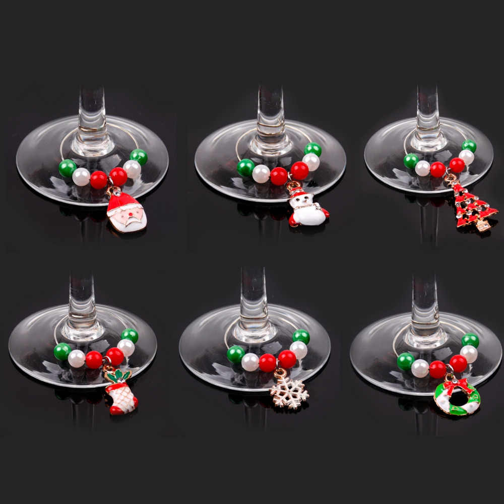 6pc Christmas Items Goblet Champagne Wine Glass Charms Merry Christmas Decor for Home Noel Navidad 2019 Xmas Happy New Year 2020