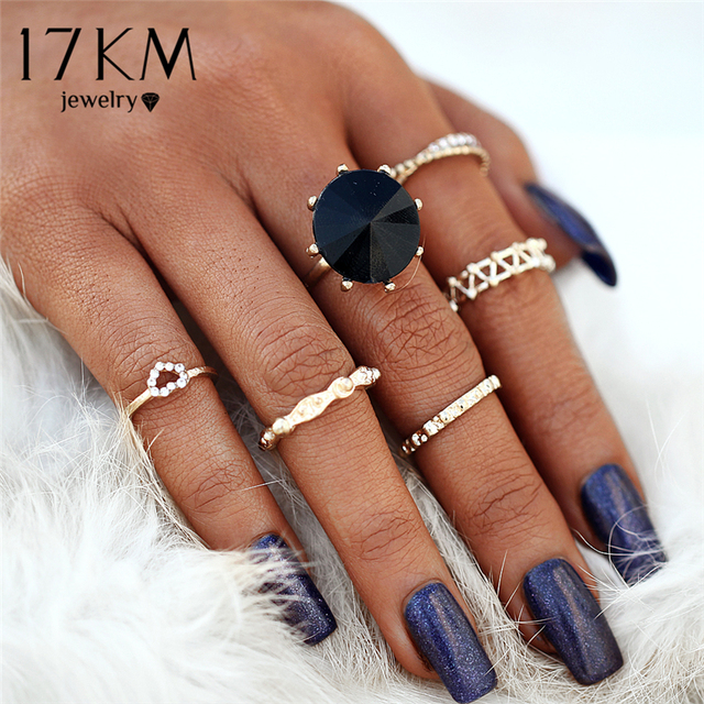 17KM 6Pcs/Set Vintage Heart Big Black Stone Knuckle Rings For Woman 2018 New Hol