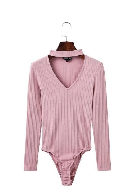 Sexy Elegant Autumn Choker Ribbed Halter V Neck Women Long Sleeve Knitted Winter 2017 Short Bodysuits Casual Tops Pull Femme