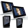 "Free Shipping!ENNIO 7"" Video Door Phone Intercom Doorbell with 2pcs 1000TVL Outdoor Security CCTV Camera + 2pcs Indoor Monitor"
