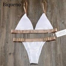 Biqueno's Secret белый бархатный купальник женский бикини 2019 купальный костюм бразильский набор бикини сексуальный купальник с низкой талией