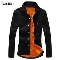 Men Shirt 2015 New Winter Men S Casual Solid Fleece Corduroy Warm Shirt Male Solid Warm