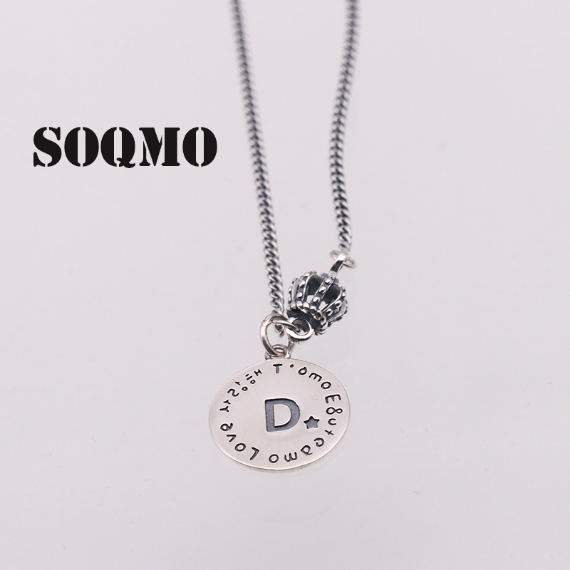 SOQMO 925 Sterling Silver Personalized Alphabet Initial Necklace for Women Men Letter Necklace Choker Jewelry Good gift SQM174 men choker 925 silver necklace male cross necklace personalized accessories necklace jewelry 2 stone colors gift