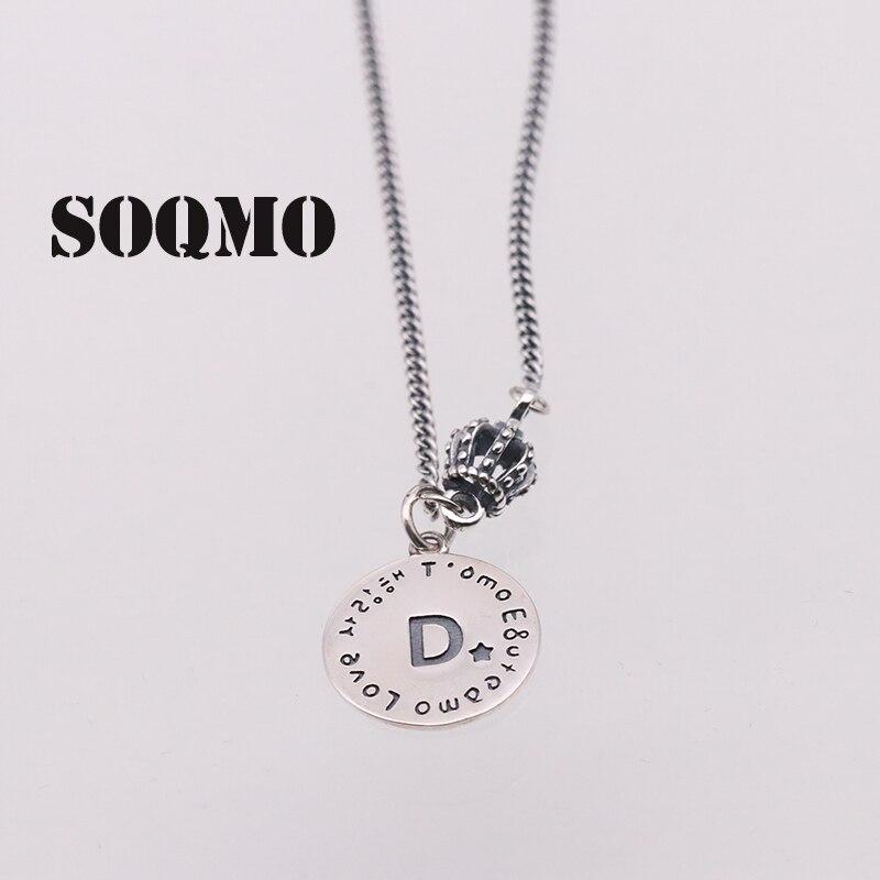 SOQMO 925 argent Sterling personnalisé Alphabet collier Initial pour femmes hommes lettre collier Choker bijoux bon cadeau SQM174