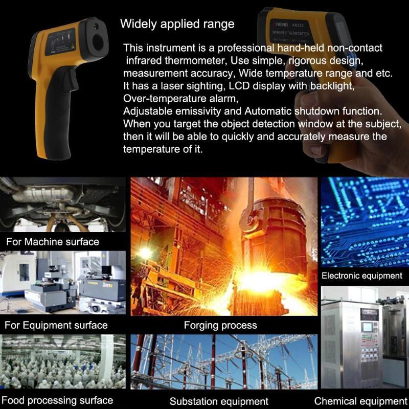 ANENG AN320 Non-contact Digital Infrared Thermometer Gun IR Laser  Temperature Gun Pyrometer Diagnostic Tester -50~380 Degrees