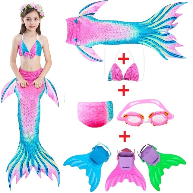 e123a84c1ec Girls Rainbow Mermaid Tail Kids Swimwear Bathing Suit Cosplay Costume Bikini  Swimsuit Little Swimming Suits Swimmer Clothes