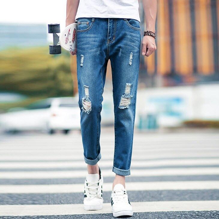 #1416 Mens jogger jeans Ankle-length 2016 Summer Slim Korean Skinny Denim biker jeans Ripped jeans for men Pantalones hombre