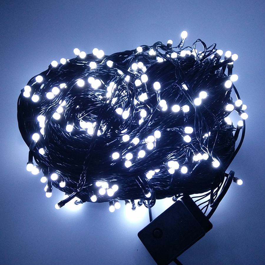Thrisdar 100M 500 Bulbs Led Fairy String Light 8 Function Black Cable Outdoor Garden Christmas Party Wedding home Garland Light thrisdar 8m 100m christmas led fairy string light 8 function black wire outdoor garden patio fairy string party wedding garland